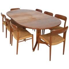 """Niels Otto Møller """"Model 75"""" Teak Chairs and Skovby Dining Table, Denmark, 1950s"""