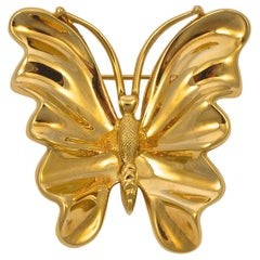 Nina Ricci Large Gold Plated Butterfly Brooch circa 1980s