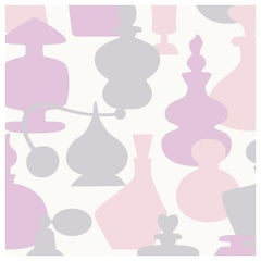 No. 5 Designer Wallpaper in Whisp 'Grey, Peach, Pink and White'