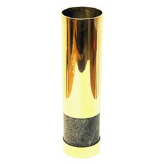 Norwegian Big Brass and Stone Vase by Saulo, 1970s, Norway