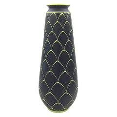 Norwegian Larholm Keramikk Scandinavian Modern Vase in Black and Green, 1950s
