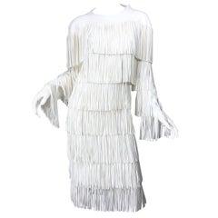 NWT Tom Ford $7,000 Runway Fall 2015 Size 42 / 8 White Open Back Fringe Dress