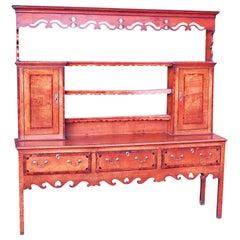 Oak English 18th Century Georgian Antique Dresser with Rack