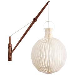 Oak Wall Lamp from Louis Poulsen with Le Klint Shade, Danish Modern, 1950s