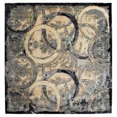 Oblique Modern Abstract Rug in Black, Beige and Gray Circles