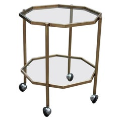 Octagonal Bar trolley Solid Gold Brass Italian Design 1970s Romeo Rega Style