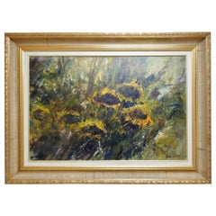 Oil on Board of Sunflowers Signed Anton Weiss