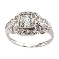 Old European Cut Diamond Platinum White Gold Engagement Ring
