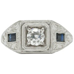 Old European Diamond 2 Blue Sapphire White Gold Art Deco Revival Engagement Ring