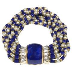 Omega Ladies Gold Platinum Diamond Pearl and Enamel Covered Bracelet Watch