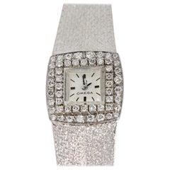 Omega Ladies Wristwatch, 18 Karat White Gold, with Diamonds, Manual Wind