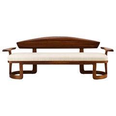 One-Off American Studio Craft Movement Modern Sofa in Black Walnut and Raw Silk