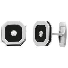 Onyx 18 Karat White Gold Fine Jewelry White Gold Statement Cufflinks
