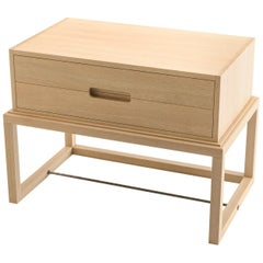 Oona Bedside or Side Table in Oak with Antique Brass Fittings