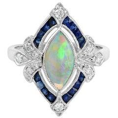 Opal Natural Blue Sapphire Diamond 18 Karat White Gold Ring