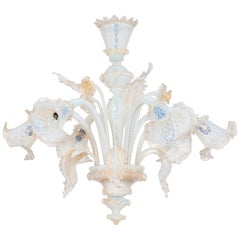 Opaline in Blown Murano Glass Chandelier with Gold Finishing, Italy, 1960s