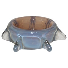Opaline Pinched Glass Bowl Midcentury Italy