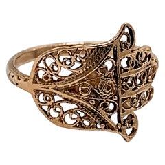 Openwork Hamsa Ring in Rose Gold