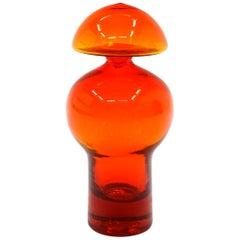 Orange Blenko Blown Art Glass Bottle with Original Stopper, Mint Condition