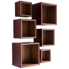 Orchestra, Contemporary Leather and Wood Modular Shelving System