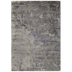 Abstract Organic Hand Knotted Wool and Silk Custom Grey Silver and Beige Rug