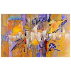 Original 'Abstraction Lyrique en Jaune et Bleu' Abstract Painting