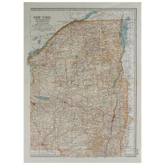 Original Antique Map of Upstate New York, circa 1890