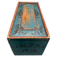 Original Blue and Red Painted Swedish Bridal Folk Art Box Dated 1852