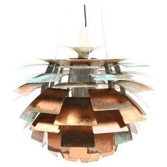 Original Midcentury Artichoke Pendant in Patinated Copper