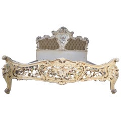 Original Old Venizian Bed Fully Carved with Flowers