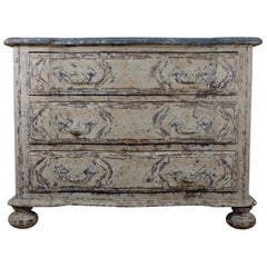 Original Painted French Serpentine Commode, Chest of Drawers
