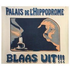 Original Vintage French Advertising Poster 'Palais de L'Hippodrome Blaas Uit'