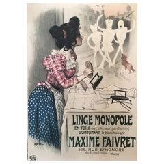 Original Vintage French Laundry Poster 'Linge Monopole', 1897