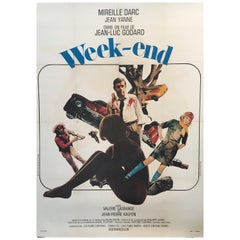 Original Vintage Jean-Luc Godard French Film Poster 'Week-End', 1967