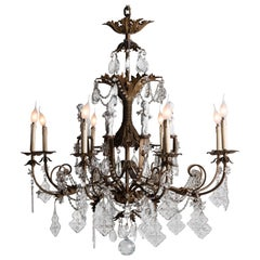 Ornate Brass Chandelier with Porcelain Figures, Italy, circa 1920
