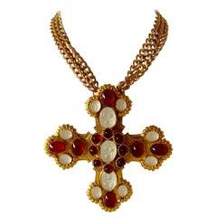 Ornate Gilt Byzantine Style Statement Cross Necklace