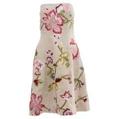 Oscar de La Renta Runway Linen Silk Embroidered Strapless Dress, Spring 2003