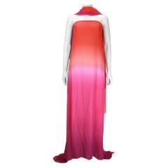 Oscar De La Renta Orange and Pink Ombre Chiffon Gown with Wrap