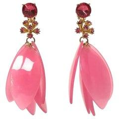 Oscar De La Renta Pink Drop Earrings