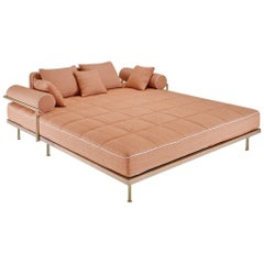 Outdoor Lounge Bed in Reclaimed Hardwood & Brass Frame by P.Tendercool In Stock