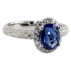 Oval Blue Sapphire Diamond Engagement Ring