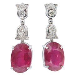 Oval Ruby and Diamond Floral Design 18 Karat Gold Drop Earrings