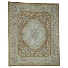 Oversize Thick and Plush Floral Trellis Design Savonnerie Rug