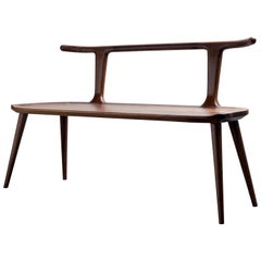 Oxbend Bench, Entryway Seat in Walnut Wood by Fernweh Woodworking