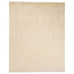 Oxidized Wool with Silk High and Low Pile Modern Hand Knotted Rug