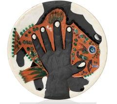 Pablo Picasso Madoura Ceramic Plate - Mains au poisson Ramié 215