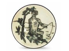 Pablo Picasso Madoura Ceramic Plate- Pêcheur à la ligne. Ramié 262