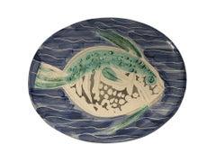 Pablo Picasso Madoura Ceramic Plate - Poisson bleu, Ramié 180