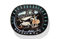 Pablo Picasso Madoura, Corrida soleil , Glazed ceramic plate, Ramie 199