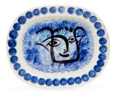 Pablo Picasso Madoura, Visage Noir Putoise, Glazed ceramic plate, Ramié 49
